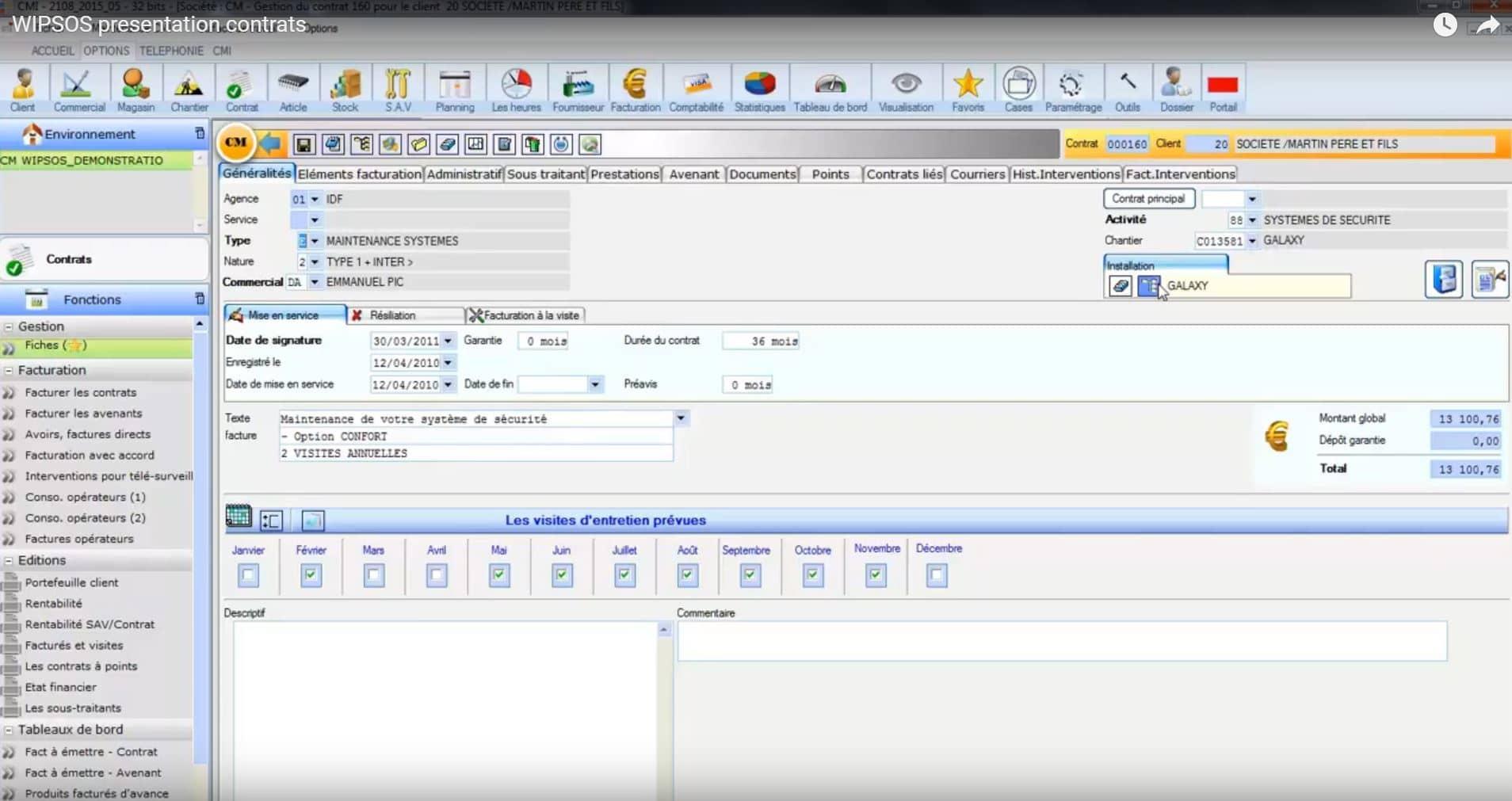 Démonstration logiciel gestion contrat CMII
